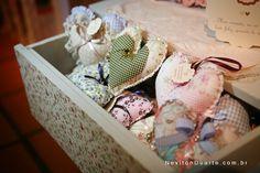 corações em patchwork - lembranças de casamento vintage