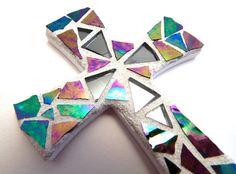 """Mosaic Cross, Magnet, 4"""" x 3"""", Iridescent Glass + Gun Metal Gray Mirror, Handmade Stained Glass Mosaic Design $20.00"""
