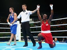 Claressa Maria Shields of the U.S. celebrates her gold medal win over Nouchka Fontijn of the Netherlands in the women's middleweight bout at Riocentro, on the last day of the Rio 2016 Olympic Games.
