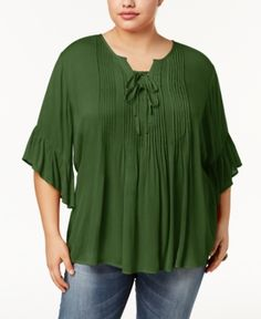 Style & Co Plus Size Pintucked Ruffled Peasant Top, Created for Macy's - Green 3X