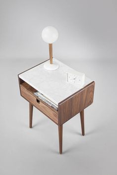 Mid Century Nightstand with Drawer in Walnut and Carrara