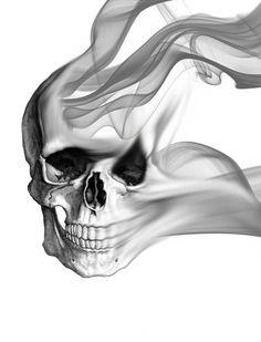 Smokin Skull Art Print