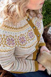 Ravelry: Lev Landlig kofte by Lene Holme Samsøe og Liv Sandvik Jakobsen Fair Isle Knitting, Hand Knitting, Knitting Designs, Knitting Projects, Crochet Cardigan, Knit Crochet, Punto Fair Isle, Garnstudio Drops, Norwegian Knitting