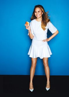 Model Chrissy Teigen Is Seriously Obsessed with Food - Bon Appétit Thing 1, Models, Little White, Girl Crushes, Pop Culture, At Least, White Dress, Swimsuits, Celebrities