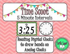 Telling Time to 5 Minute Intervals Scoot Game Blank Clock Faces, Digital Clocks, School Daze, Telling Time, Addition And Subtraction, Word Problems, Teacher Pay Teachers, Teacher Newsletter, Task Cards