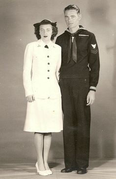 Pinner says: 'My parents married while both serving in the US Navy during WWII.  Kitty Gleason of NJ was a WAVE & George Pomeroy Miller of West VA was a Pharmacist Mate. This is their wedding pic in 1945' ~