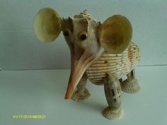 Elephant Figurine, Handcrafted Entirely Of Sea Shells