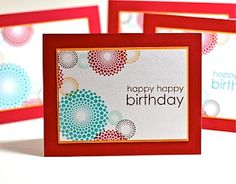 Stamps: Dot Spot, Birthday Bash Greetings (Papertrey Ink)  Ink: Hawaiian Shores, Dark Chocolate, Summer Sunrise, Aqua Mist (Papertrey Ink), Real Red (Stampin' Up!)  Paper: Real Red, Summer Sunrise, White