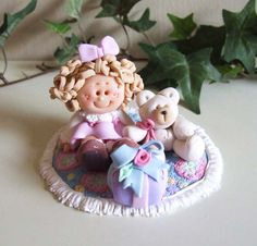 Polymer Clay 12th scale Little Girl & Friends on Rug by Trisha Martin