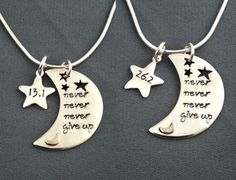 Never Give Up Necklace - Great necklace to commorate a 1/2 marathon. Love this site! http://www.liftyoursole.com/collections/13-1-half-marathon love these