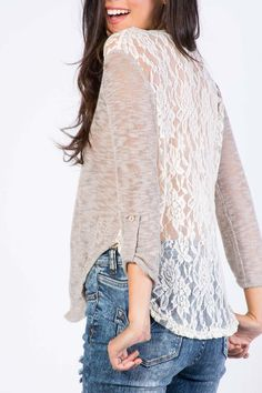 MARLED LACE BACK TOP $13.99