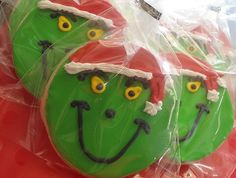 grinch cookies; or a simpler design for a cupcake topper