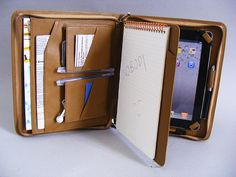 iPad Leather Portfolio Case with inside Writing Pad for Apple iPad with iPhone 5 and Accessories Pockets