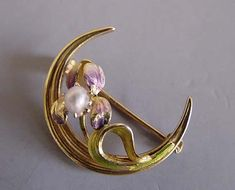 ART NOUVEAU 14k Art Nouveau enameled and pearl iris pin