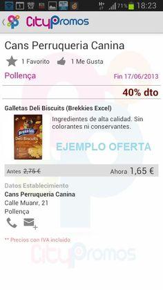 Ejemplo oferta APP Citypromos en #Mallorca - Tienda canina