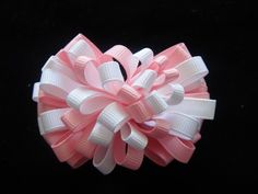 Pink and white boutique hair bow, hair clip, bloom of loops | bowsandbling2 - Children's on ArtFire