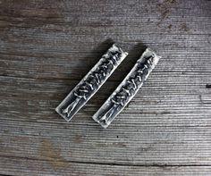 Cedar tree silver pewter barrettes pair by EarthlyCreature on Etsy