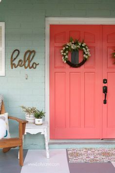 Loving these bright front coral painted doors! So easy to make a statement with bold front door paint choices using Curb Appeal paint. Coral Front Doors, Painted Front Doors, Front Door Colors, Front Door Decor, Coral Paint Colors, Paint Colors For Home, House Colors, Coral Color, Outdoor House Paint
