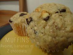 Recette de muffins aux bananes, chocolat noir, chocolat blanc et avoine. Vous ne voudrez plus de votre ancienne recette!