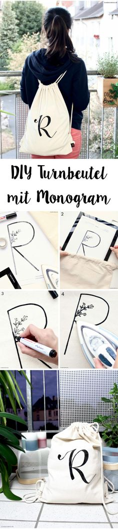 DIY gym bag with monogram + what's up with the Vietnamese name - Beutel Dollar Store Crafts, Dollar Stores, Diy Wall Decor, Decor Crafts, Diy Monogramm, Diy Mode, Brows On Fleek, Crafts To Make And Sell, Gym Bag