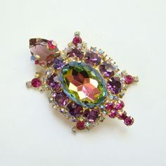 1968 Juliana Verified Watermelon Heliotrope Rhinestone Figural Turtle Brooch DeLizza Elster by redroselady on Etsy