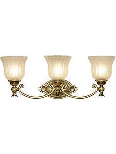Francoise Triple Bath Sconce With Ribbed Glass Shades | House of Antique Hardware