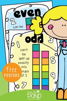 Odd and Even Numbers - free printable posters Math Activities For Kids, Math Resources, Classroom Activities, Number Activities, Math Strategies, Classroom Projects, Reading Activities, Math Games, Classroom Ideas