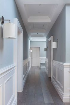 Wall Paneling Ideas Modern Entryway and Hallway Decorating Ideas Ideas modern Paneling Wall Tiled Hallway, Hallway Walls, Modern Hallway, White Hallway, Upstairs Hallway, Duck Egg Blue Hallway, Wainscoting Hallway, Modern Wall Paneling, White Paneling
