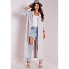 Missguided Long Sleeve Maxi Duster Jacket (35.800 CLP) ❤ liked on Polyvore featuring outerwear, jackets, coats, outfit, grey, grey duster jacket, gray jacket, grey jacket, long sleeve jacket and maxi jacket