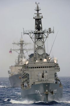 JS Shimakaze (DDG 172) transits in formation with a U.S. Navy ship. by Official U.S. Navy Imagery