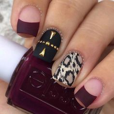 Leopard Print Accent Nail + Black and Burgundy Matte Nails