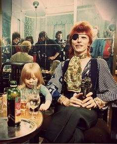 """David Bowie with his son """"Zowie"""" Bowie (now Duncan Jones) 70s."""