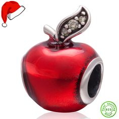 Fits Pandora Charms Bracelet 925 Sterling Silver Christmas Red Apple Bead With Green Stone European Charm DIY Jewelry Findings #Affiliate