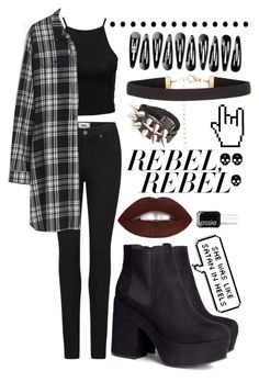 """""""Rebel Ebel"""" by i-hate-bitches ❤ liked on Polyvore featuring NLY Trend, Paige Denim, Madewell, H&M, New Look and Essie"""