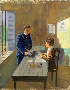 Facteur et receveuse dans un bureau de poste Anonyme 1950 © L'Adresse Musée de La Poste / La Poste, DR.