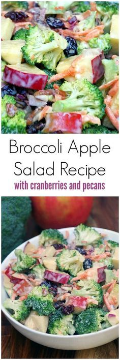 Salade crémeuse aux pommes et au brocoli This broccoli apple salad recipe is easy to make with plenty of crunch. No bacon so it is a great meatless salad recipe and uses a lower in fat dressing by including yogurt for part of the mayonnaise. A healthy rec Apple Salad Recipes, Cranberry Recipes, Yogurt Recipes, Watermelon Recipes, Potluck Dinner, Potluck Salad, Vegan Coleslaw, Apple Coleslaw, Creamy Coleslaw