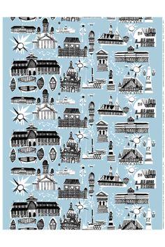 Marimekko's Helsinki-Helsingfors print by Per Olof Nyström, 1952. Inspired by Finland's art nouveau buildings.