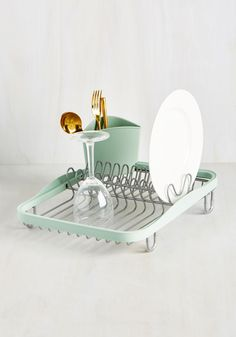 Wash-And-Ware Dish Rack. With all the chic kitchenware you possess, youre going to need a dish rack that's just as stylish! #mint #modcloth
