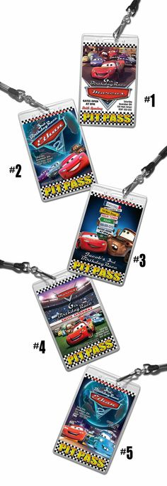 Cars Birthday invitation 24 VIP pass / badge style complete with badge cases, lanyards, envelopes & VIP stickers.