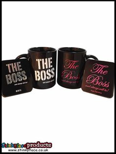 "THE BOSS Mug & Mints- His & Hers Gift Pack all featuring the phrase ""The Boss - and always will be"" make this a great gift for couples. Funny Gifts For Her, Great Gifts, Boss Mug, Couple Gifts, Sugar Free, Packing, Mint, Couples, Food"
