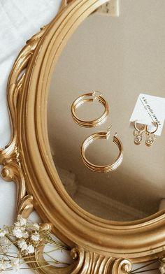 accessories photoshoot Gold hoops on ornate mirror / Minimal jewelry by S-kin Studio Jewelry Cute Jewelry, Photo Jewelry, Gold Jewelry, Jewelry Accessories, Fashion Jewelry, Indian Accessories, Jewelry Ideas, Antique Jewelry, Diy Jewelry