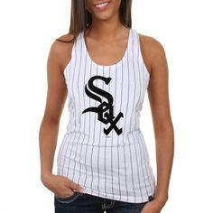 Chicago White Sox Ladies Striped Baseball Tank Top - White