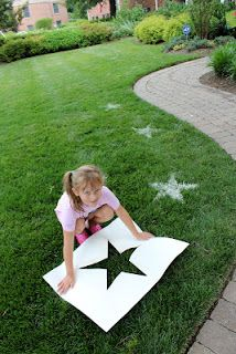 4th of July stars: cut a star from large sheet of paper, sprinkle flour in opening, done! Could be done with any logo
