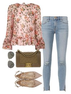 """Sin título #5599"" by marianaxmadriz ❤ liked on Polyvore featuring Frame, Topshop, Chanel, Linda Farrow and Valentino"