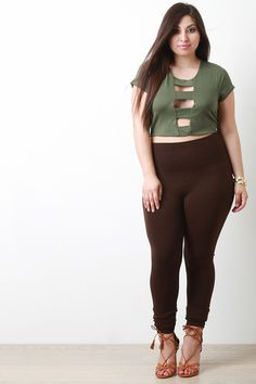 Banded Open Front Crop Top -Plus Size -Curvy Crop Top Outfits, Preppy Outfits, Cute Outfits, Sexy Outfits, Winter Teacher Outfits, Half Shirts, Beautiful Girl Image, Beautiful Roses, Plus Size Leggings