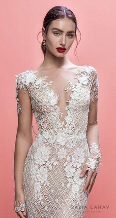 1df80ddedcf galia lahav spring 2019 bridal long sleeves deep v neck full embellishment  elegant fit and flare