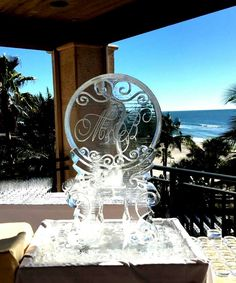 Single track, Monogram ice luge for a wedding reception in the Tampa area. #iceluges #icelugestampa #weddingice #weddingdecor