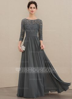a line scoop neck floor length chiffon lace mother of the bride dress with ruffle beading sequins 008179200 Mother of the Bride Dresses Trending This Year - CowlesNCP ~ Make your Wedding Ideas Mob Dresses, Modest Dresses, Stylish Dresses, Dresses With Sleeves, Fashion Dresses, Vestidos Mob, Hijab Dress Party, Mother Of The Bride Dresses Long, Ruffle Beading