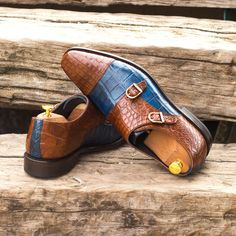 Custom Made Goodyear Welted Double Monks in Medium Brown and Navy Blue Genuine Alligator From Robert August. Create your own custom designed Double Monks .#shoes #shoesoftheday #dapper #menswear #mensfashion #luxurylifestyle #success #hot #style #bespoke #luxury .