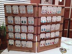 Hang Earring Cards from ribbon-- good idea for Aubrey's arts fest booth.
